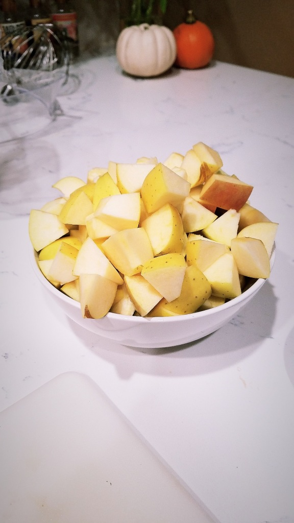 Core and chop apples.
